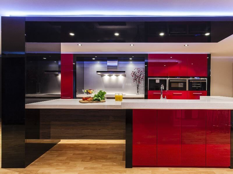 A bright red kitchen